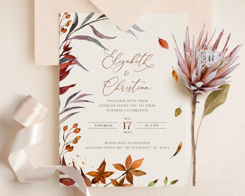 25 Unique Fall Wedding Invitations Your Guests Haven T Seen Before Fall Wedding Invitations Fall Wedding Rustic Fall Wedding