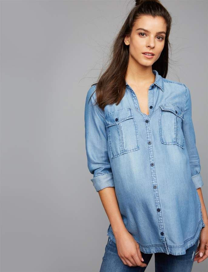 496d3085b9978 A Pea in the Pod Luxe Essentials Convertible Sleeve Denim Maternity Shirt