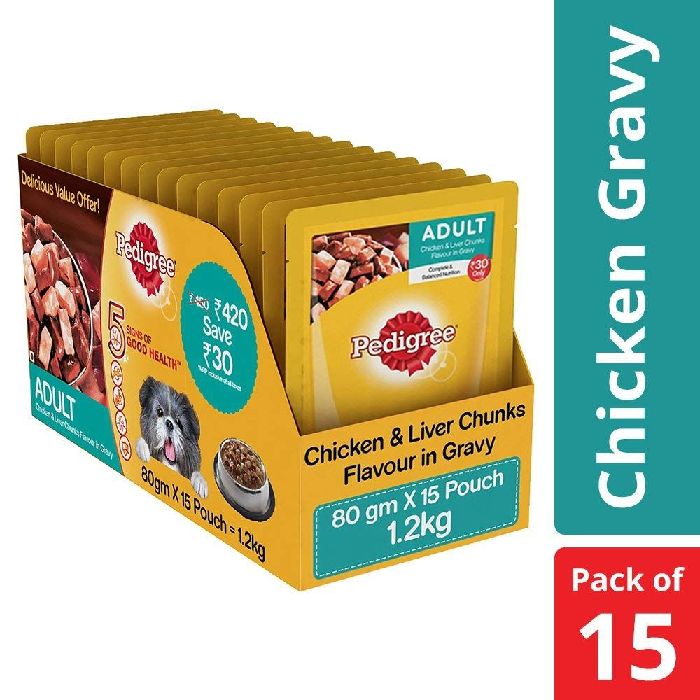 Pedigree Wet Dog Food Chicken Liver Chunks For Adult Dogs 80g