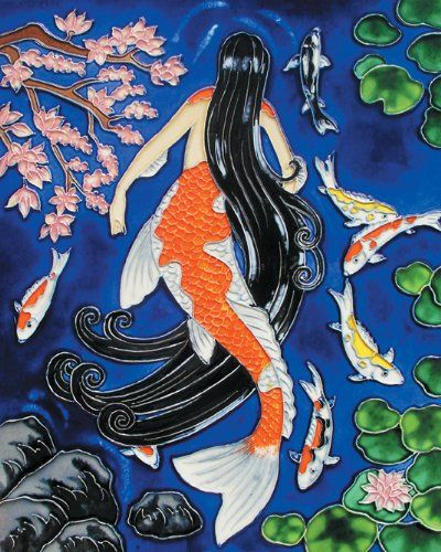 Koi mermaid decorative ceramic art tile for Koi fish tail