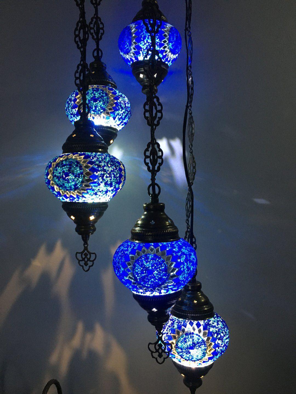 5 Ball Turkish Mosaic Chandelier Blue Sunflower In 2020