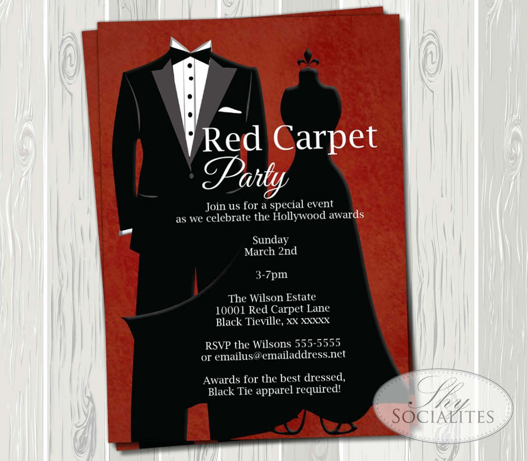 Red Carpet Or Oscar Party Invitations By Shy Socialites