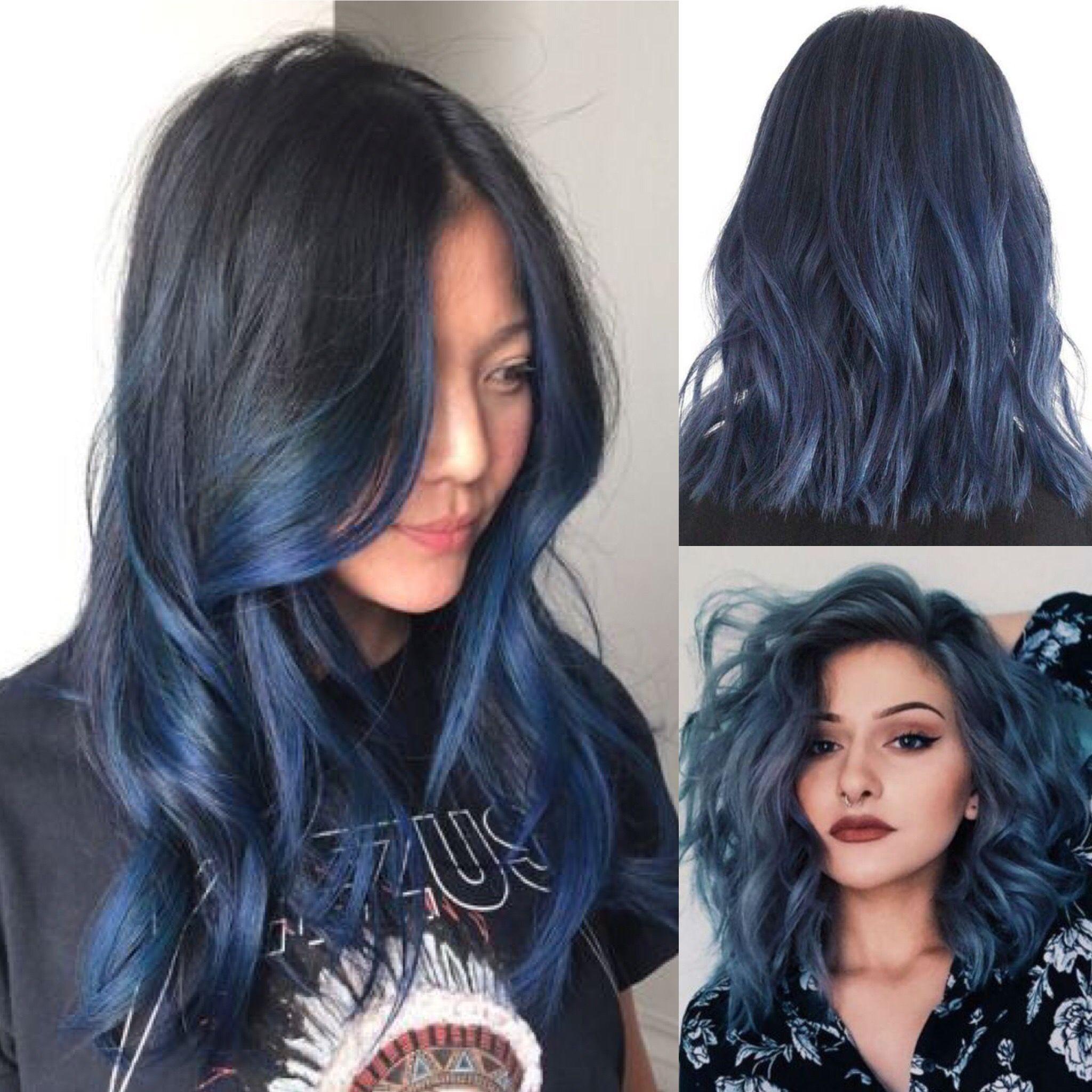 Smokey Denim Blue Hair Color Ombre Denim Blue Hair Blue Hair