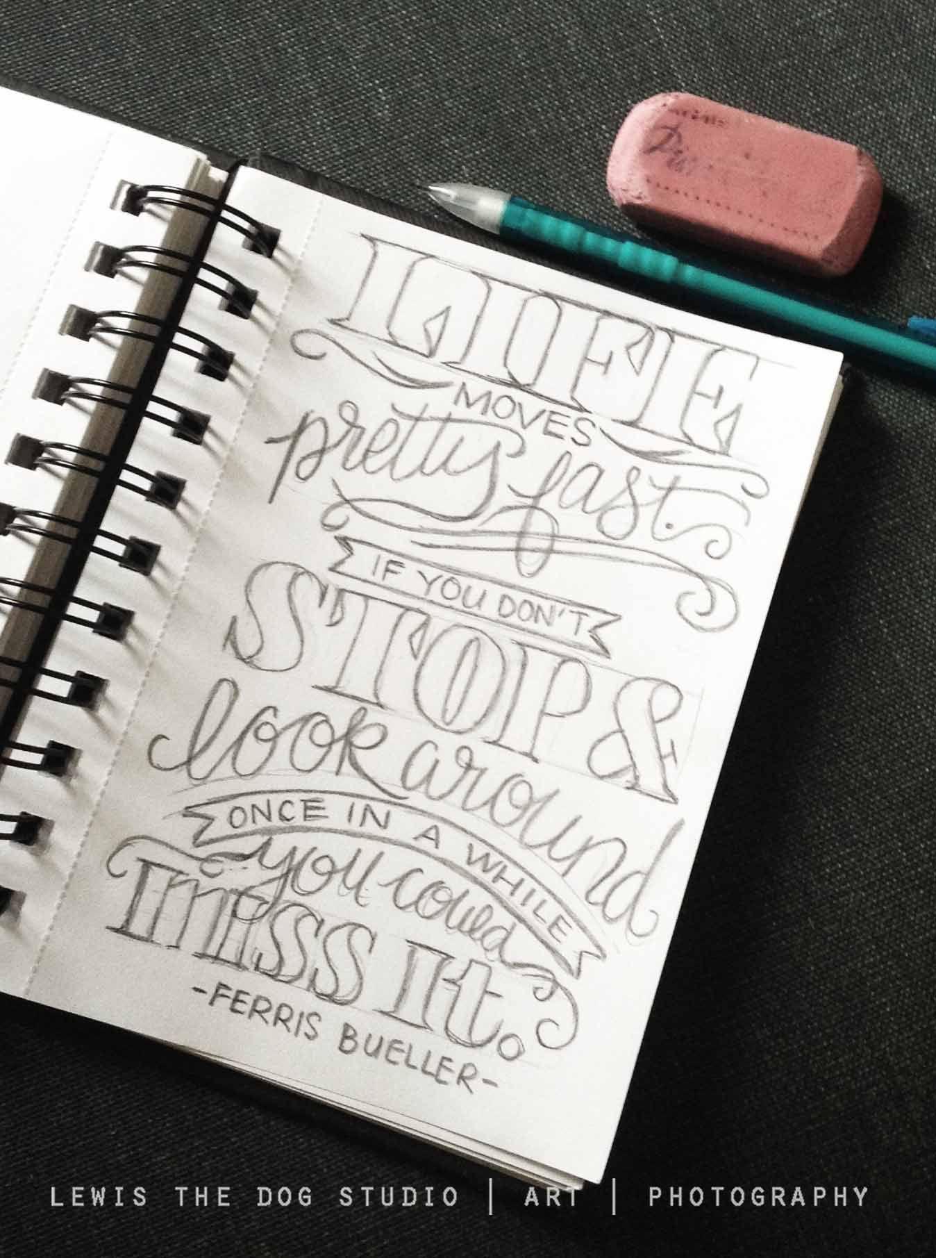 4x6 pencil sketch quote by emma vande voort instagram lewisthedogstudio