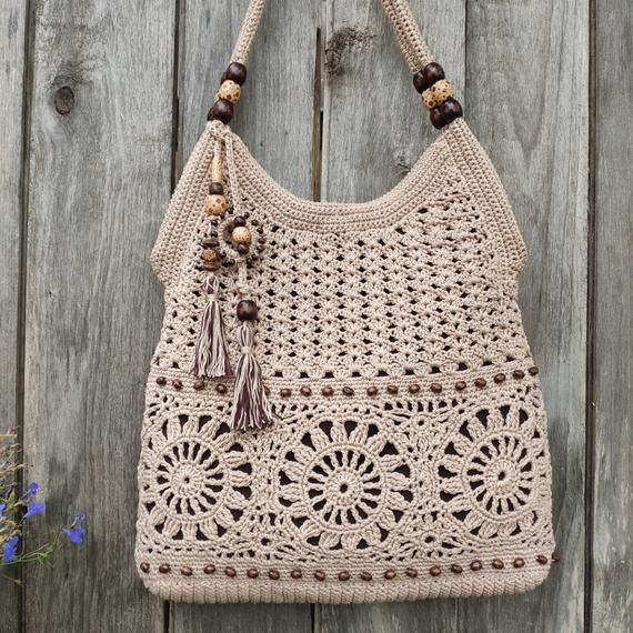Beige handmade crochet handbag Summer cotton boho style crochet purse Tan bag Summer crochet totebag Gift idea for women Bag with tassels
