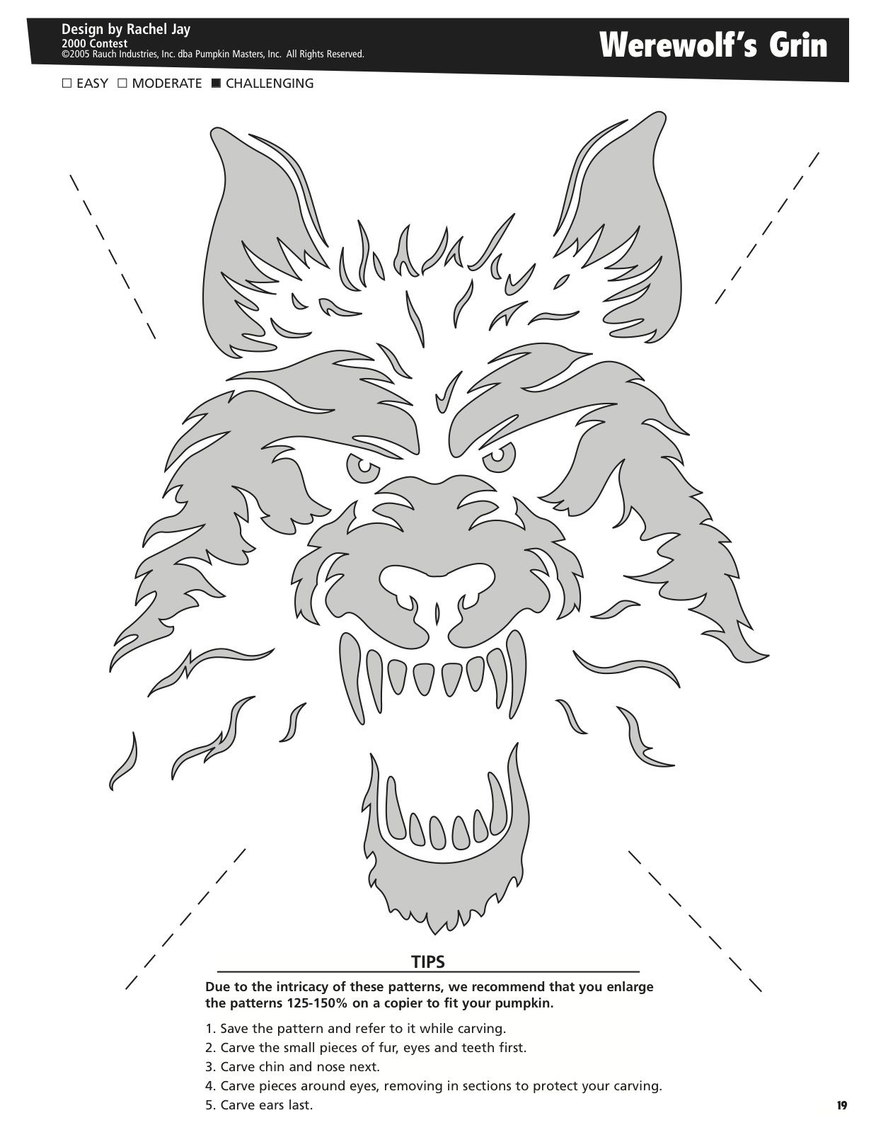 Werewolf\'s Grin free pattern by Pumpkin Masters. Want to print ...