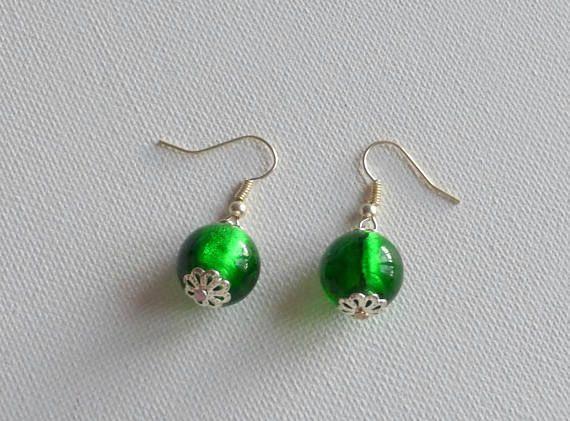 boucles d'oreilles vert emeraude/vert boucles