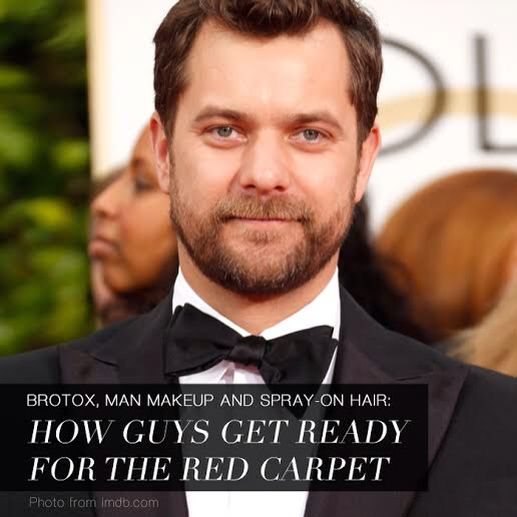 Who says men don't wear makeup? Men in Hollywood also wear makeup. It's a common practice for them to get groomed during shoots and red carpet events. Most of them use light foundation and concealer in covering blemishes, redness and blotchiness.  Joshua Jackson used Laura Mercier primer during the Golden Globes to look awake and refreshed, according to celebrity groomer, Sydney Zibrak. Find out more here, http://tinyurl.com/kucofzv