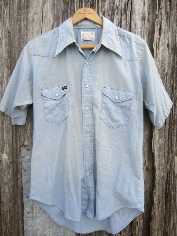 e0d55e2eacc 70s Pale Blue Wrangler Denim Style Cowboy Shirt