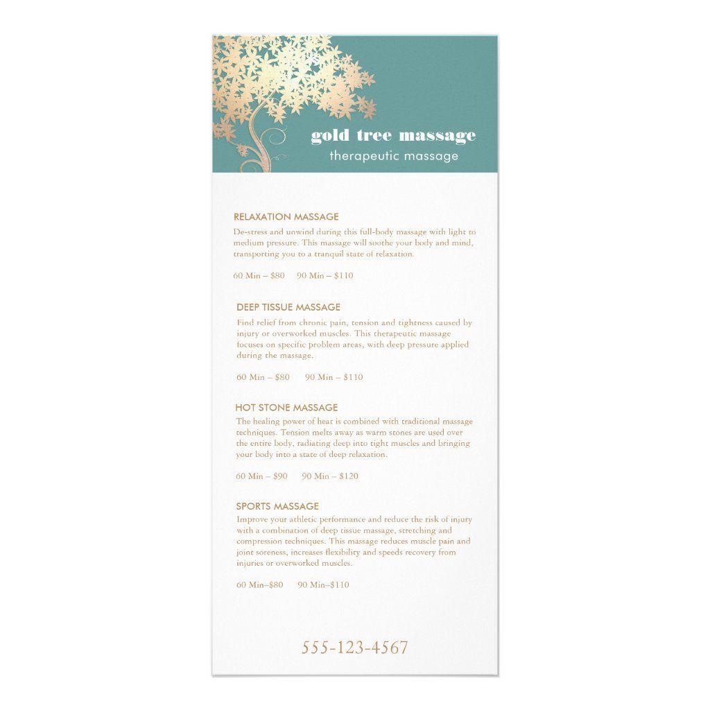 Gold Tree Massage Therapist Service Spa Menu