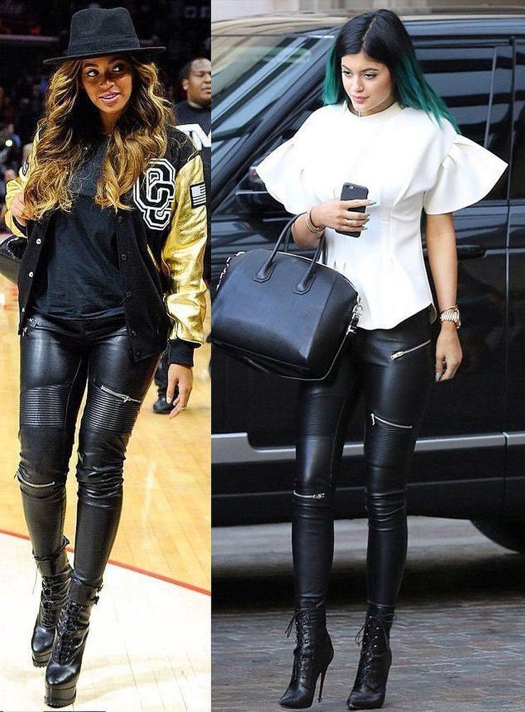 6462e295d5584 ZARA Woman BNWT Faux Leather Skinny Biker Trousers With Zips Slim S-M-L  2969 253