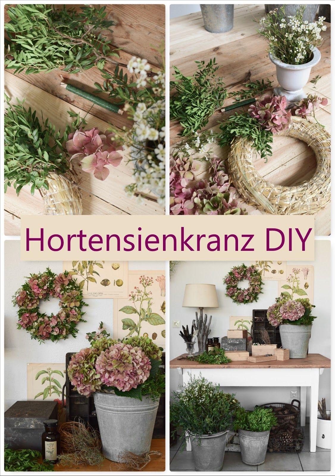 Photo of DIY Hortensienkranz selber machen: Kranz aus Hortensien, Wachsblumen, Pistazie b…