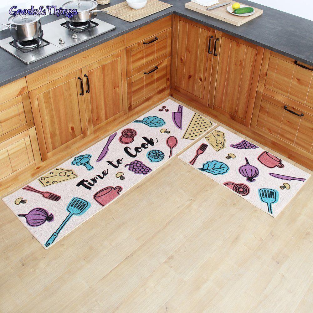 Carvapet 2 Piece Non-Slip Kitchen Mat Rubber Backing Doormat Runner Rug Set,