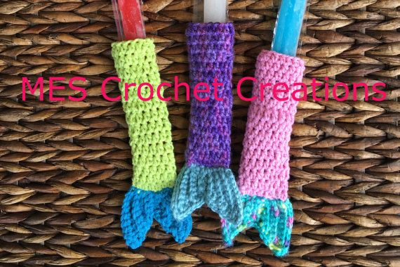 Mermaid Popsicle Covers Crochet Popsicle holders Handmade