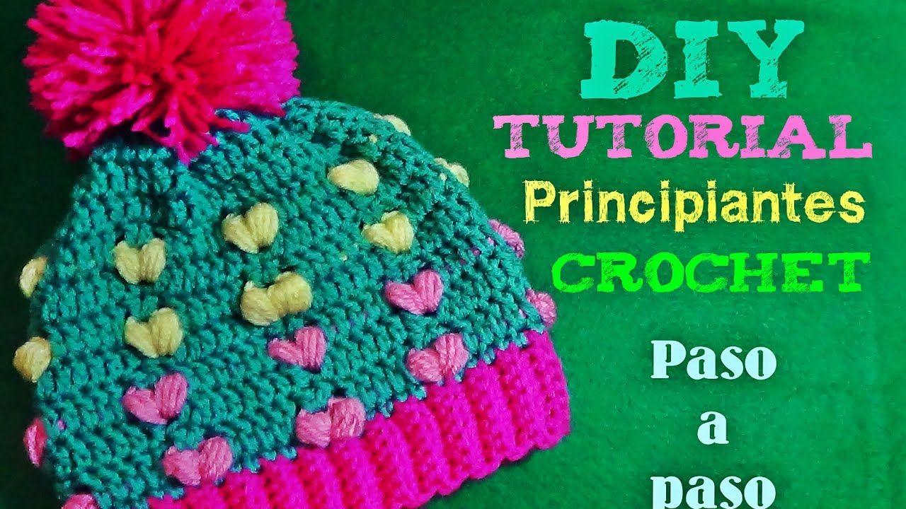 Gorrito Tejido con Corazones Puff a Crochet - Para Principiantes ...