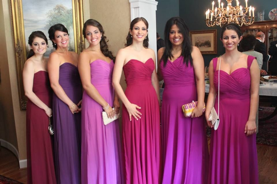Ombre bridesmaid dresses, purple to fuchsia! Gorgeous colors and ...