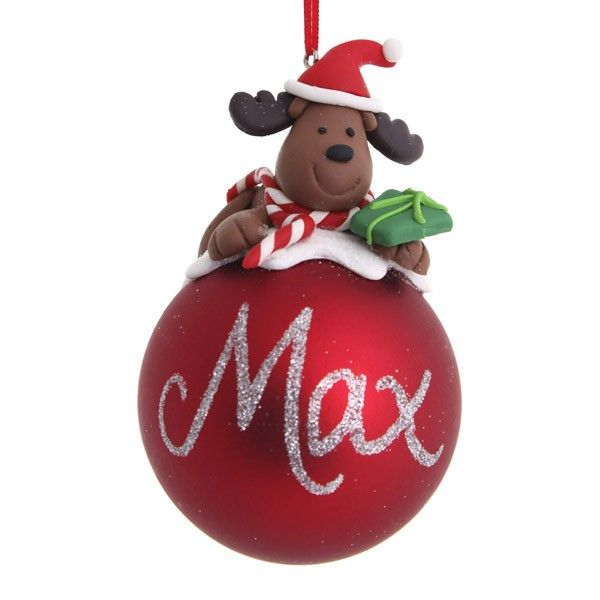 Personalised Christmas Decoration Red Teddy Christmas Character Bauble 7cm