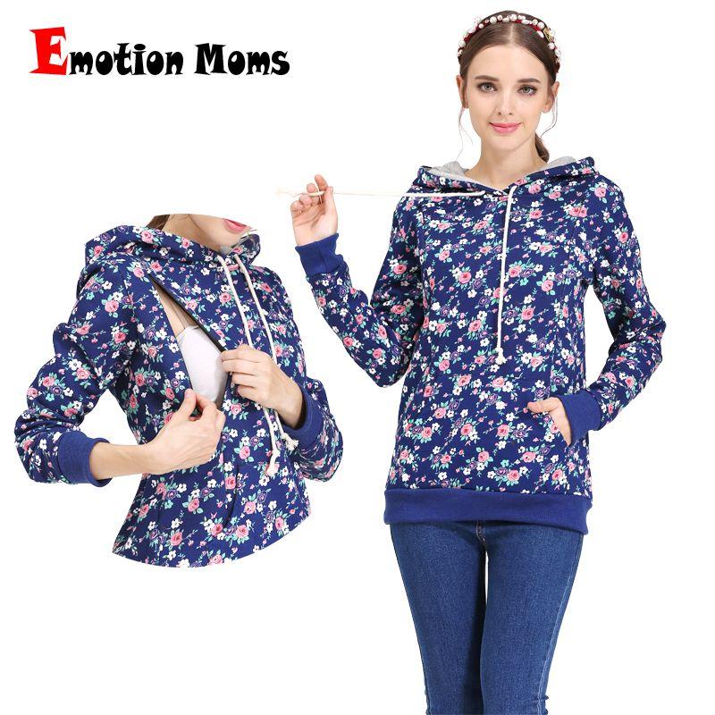4cbbeba18edcc Emotion Moms 100% cotton Winter Maternity Clothes nursing T-shirt  Breastfeeding tops Maternity Hoodie sweater for Pregnant Women