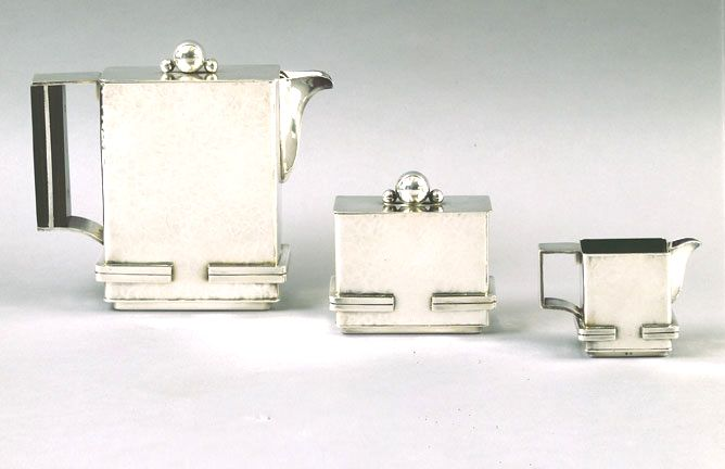 Jean Despres French Art Deco Tea Set, silvered metal and rosewood. Unique and early set, c1930.