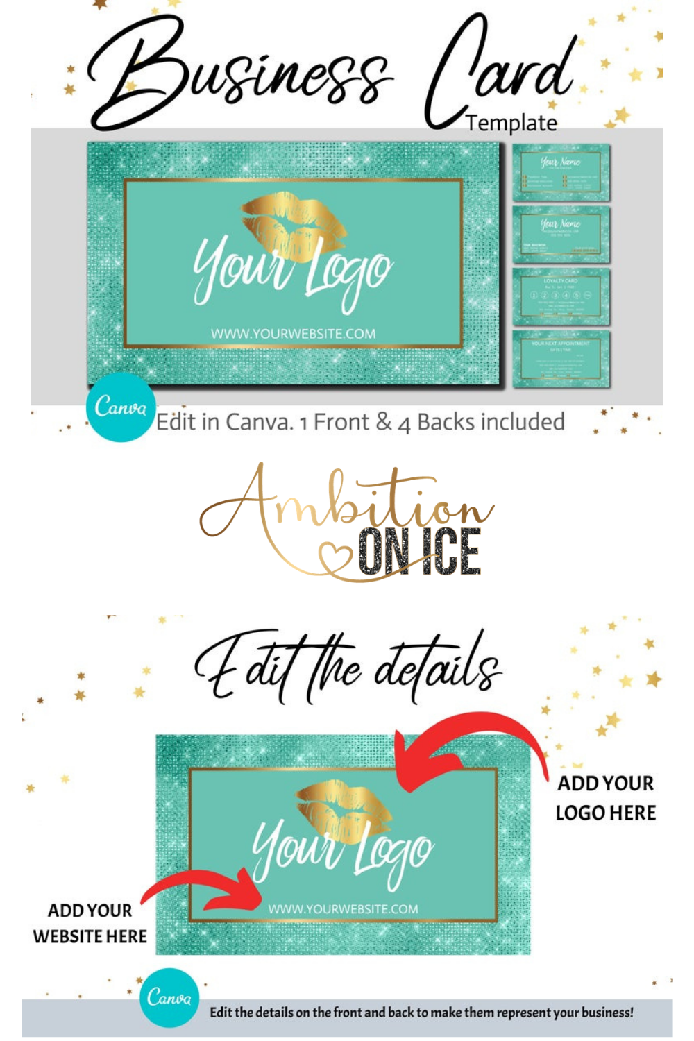 Diy Aqua Diamond Sequin Business Cards Canva Template Gold Business Card Design Appointment Card And Loyalty Card Instant Download Sequin Business Cards Business Card Design Diy Branding