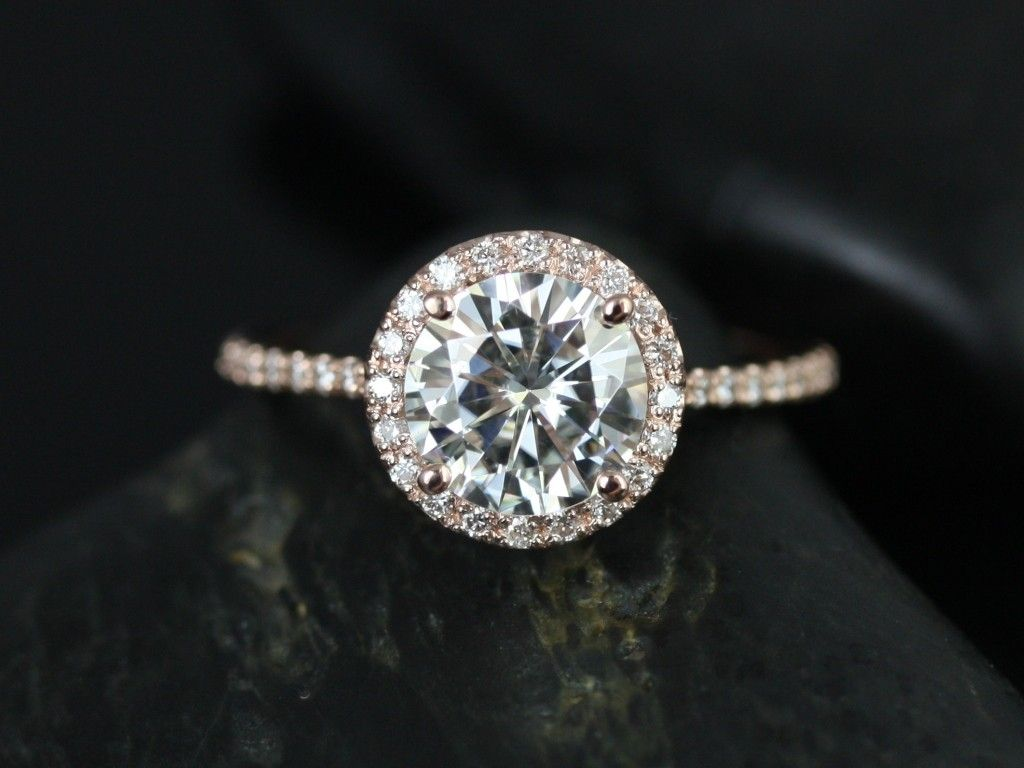 Rosados Box Kimberly 75mm 14kt Rose Gold Round Fb Moissanite And Diamonds  Halo Engagement Ring