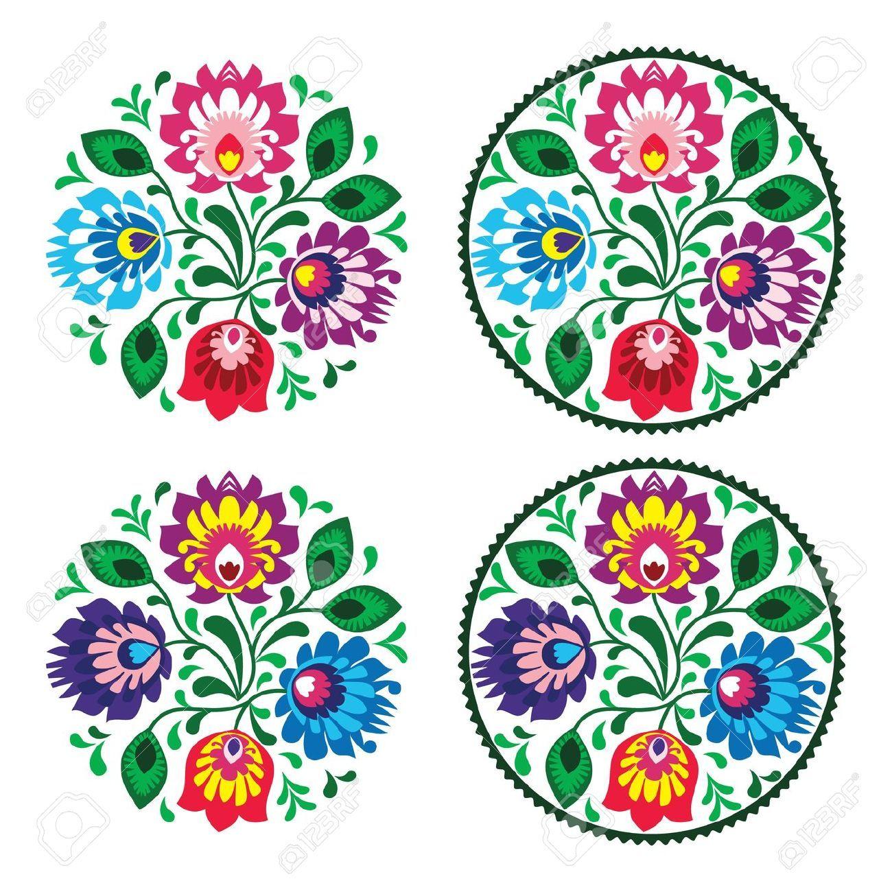 Bordado Ronda Ethnic Con Flores - Patrón Tradicional Vendimia De ...