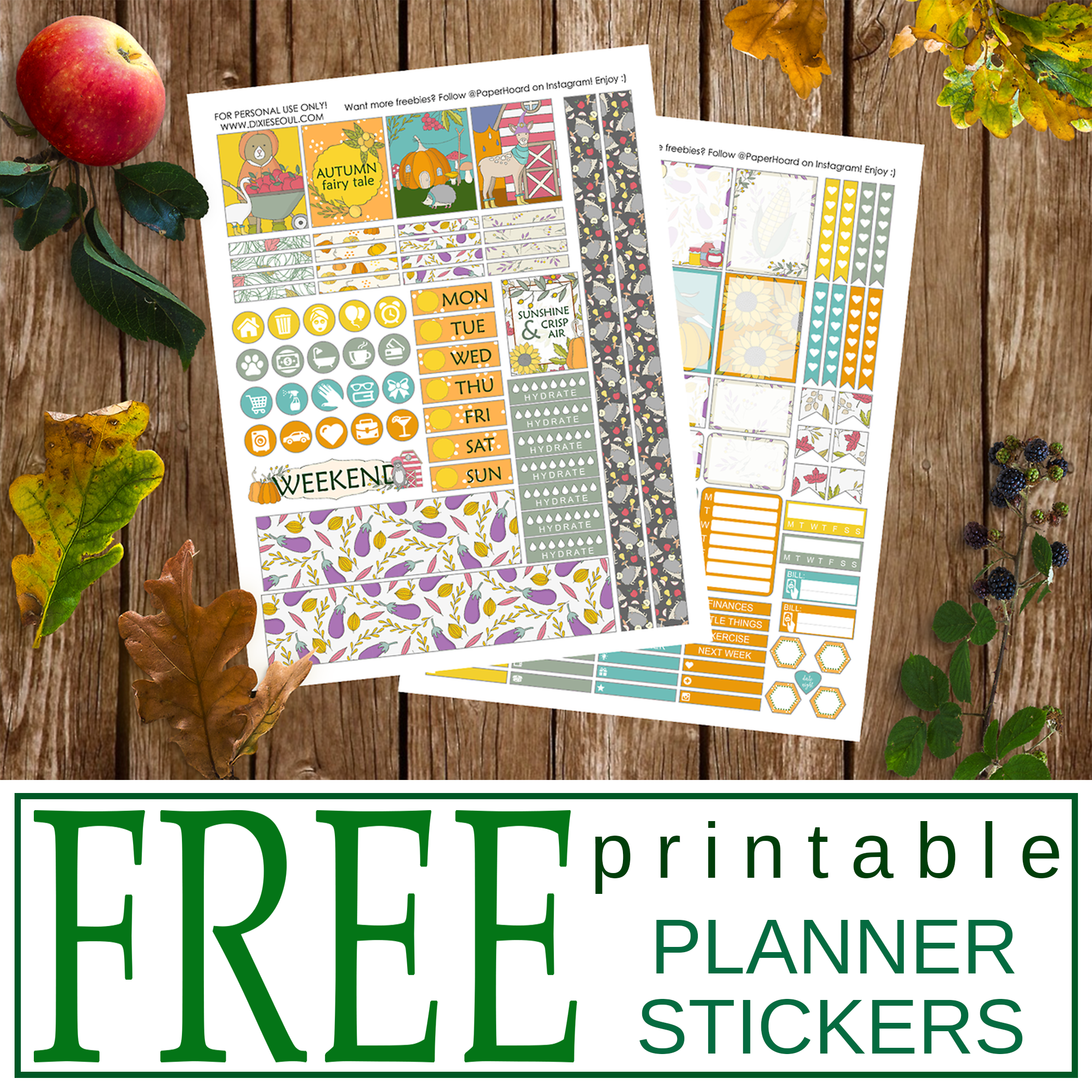 Free Printable Harvest Time Planner Stickers From Dixieseoul