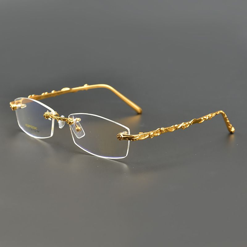 1706975448c prescription eyewear Picture - More Detailed Picture about Brand New 100%  Pure Titanium Rimless Eyeglasses Frames Men Myopia Optical Glasses Frame ...