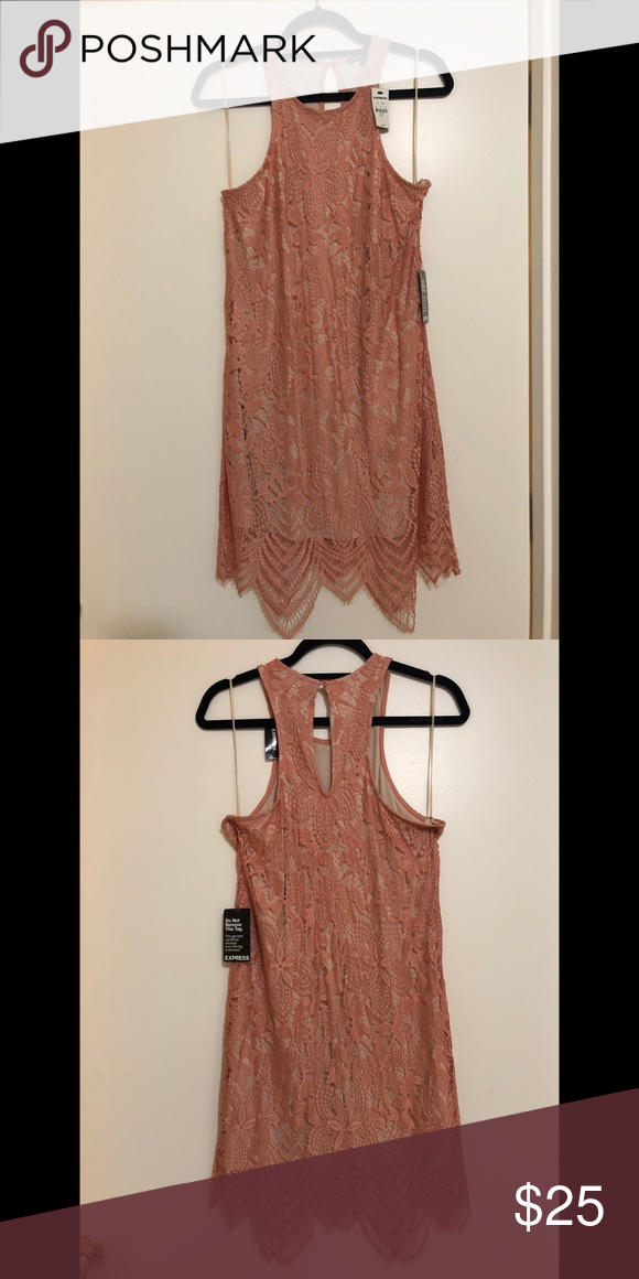 f58bf737c828 Express coral and nude lace dress Express coral and nude lace dress -great  cocktail dress for prom, homecoming, wedding!- first picture shows fit of  the ...