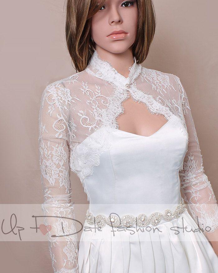Plus size  off white Bridal lace style /shrug / jacket / wedding bolero  /3/4-sleeve /white /ivory/ black by UpToDateFashion on Etsy