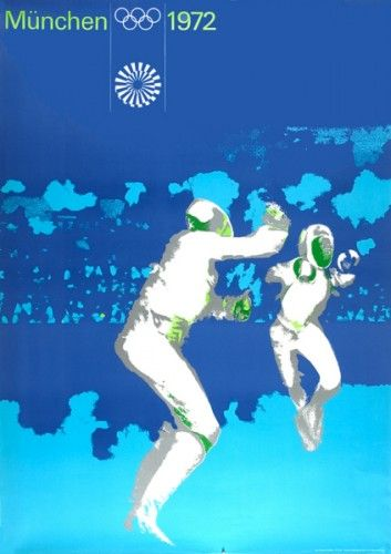 AICHER, Otl. München Olympische 1972. [Munich Olympics fencing].  Original lithograph in colours, printed by Klein & Volbert, Munchen, 1972. #sports #fencing #olympics