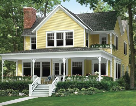 Yellow Vinyl Siding Houses | Vinyl Siding Colors For Home Exterior Decor |  Gallery Photos Images
