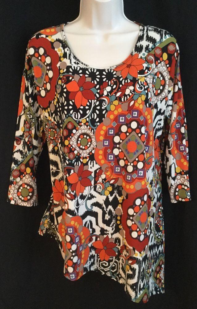 JOSTAR SZ XL Slinky Travel Knit Floral Print Top Blouse Orange Red 3/4 Sleeves  | eBay