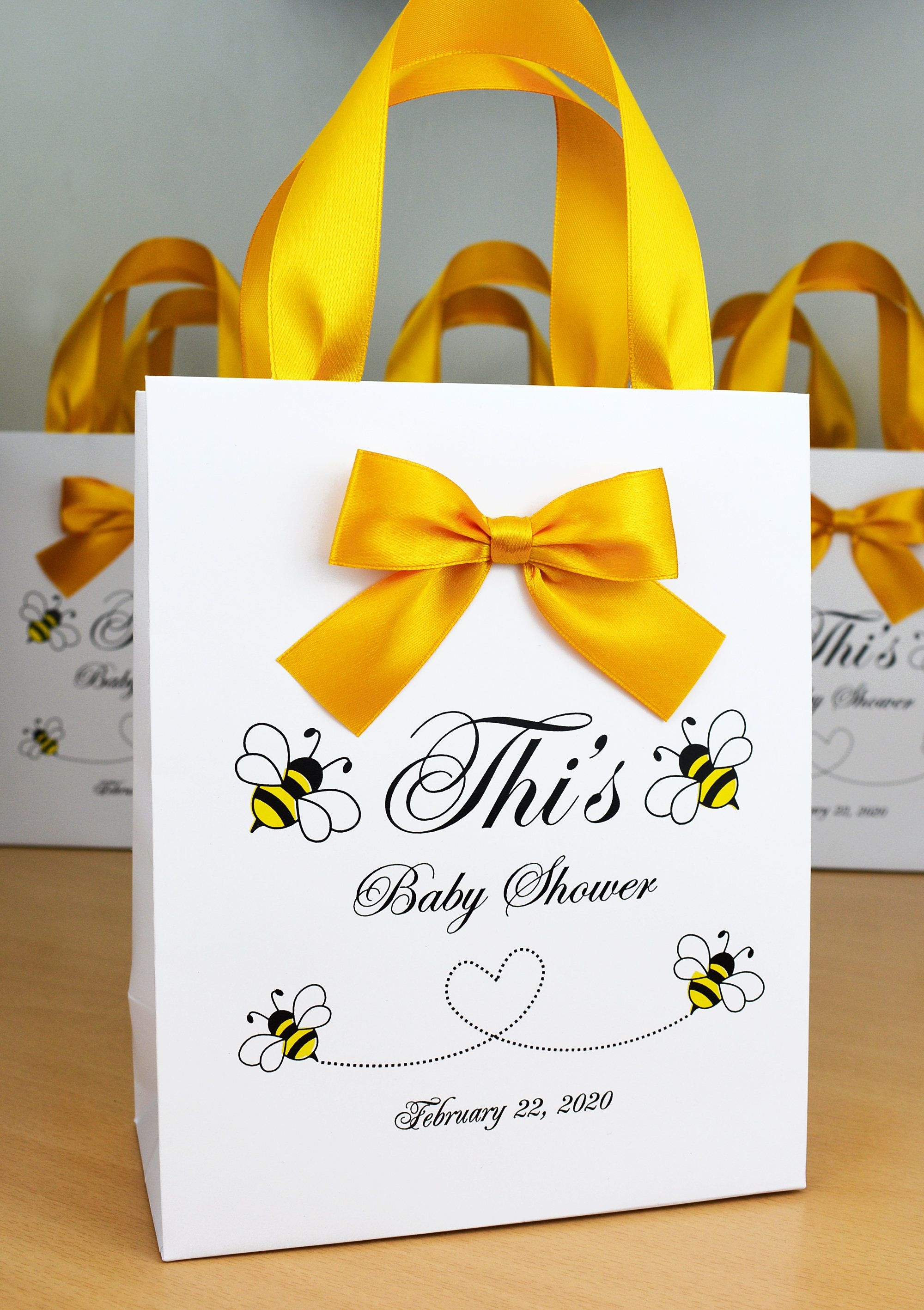 20 mommy to bee baby shower gift bags with satin ribbon