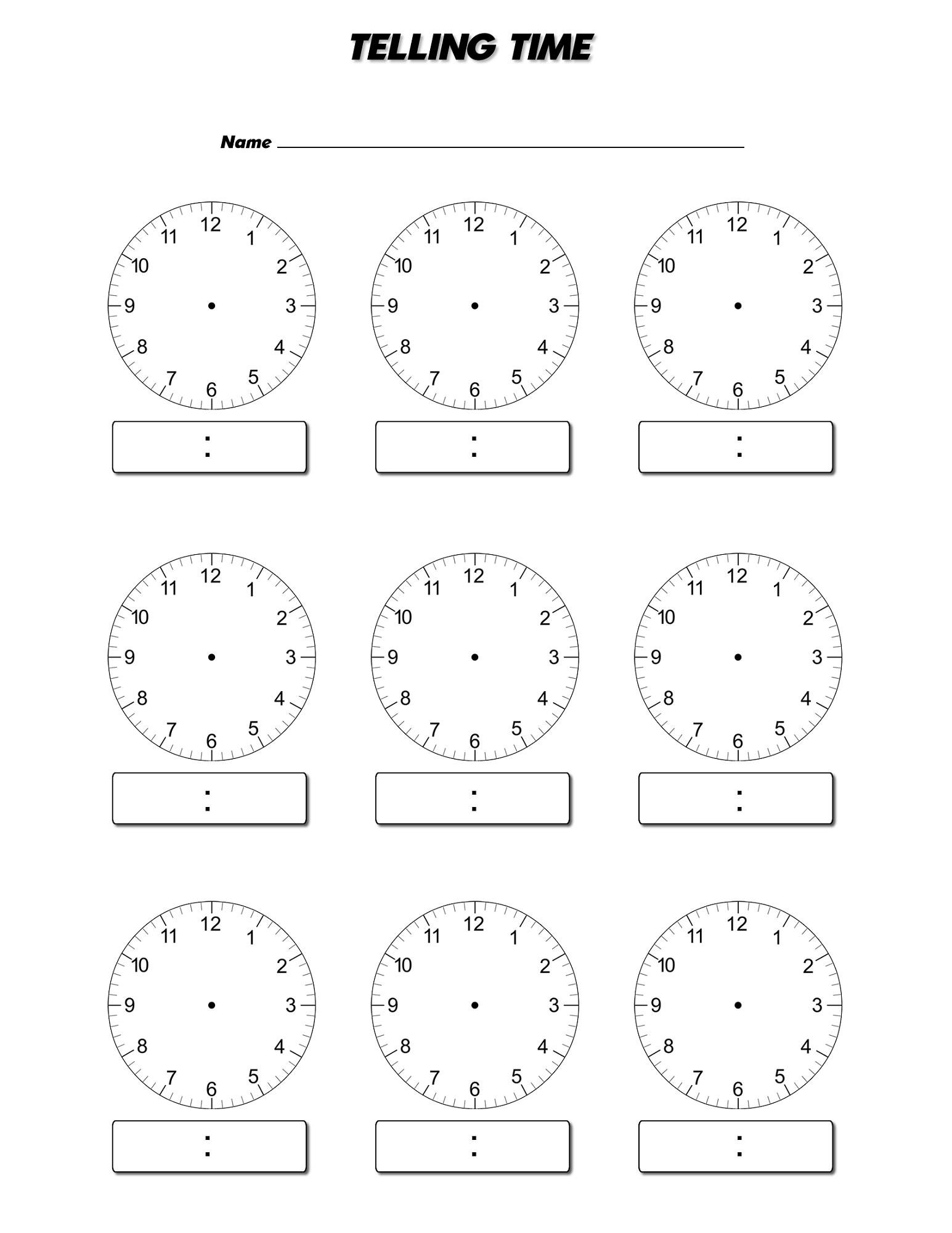 Blank Clock Worksheets