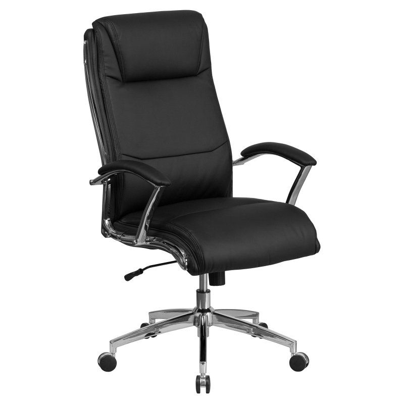 Flash Furniture High Back Designer Leather Executive Swivel Office Chair with Padded Arms and Chrome Base Black - GO-2192-BK-GG