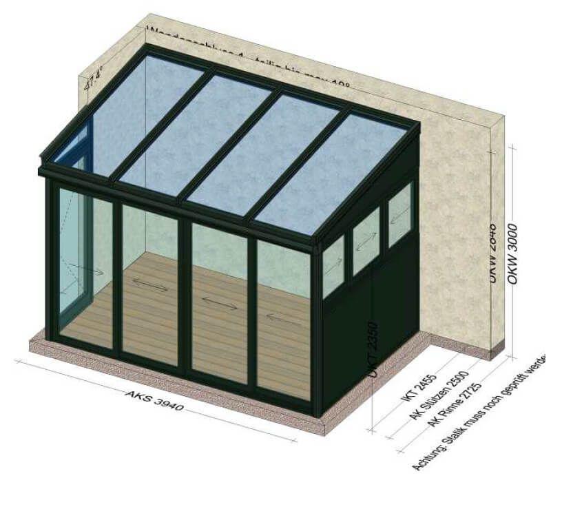 Wintergarten Alu Glas Zeichnung Schmidinger Planung Von