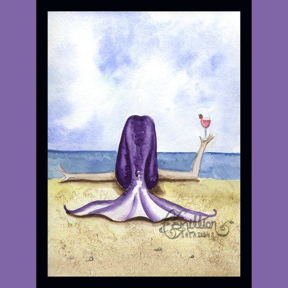 Salty Breeze Mermaid Print from Original Painting By Camille Grimshaw ocean