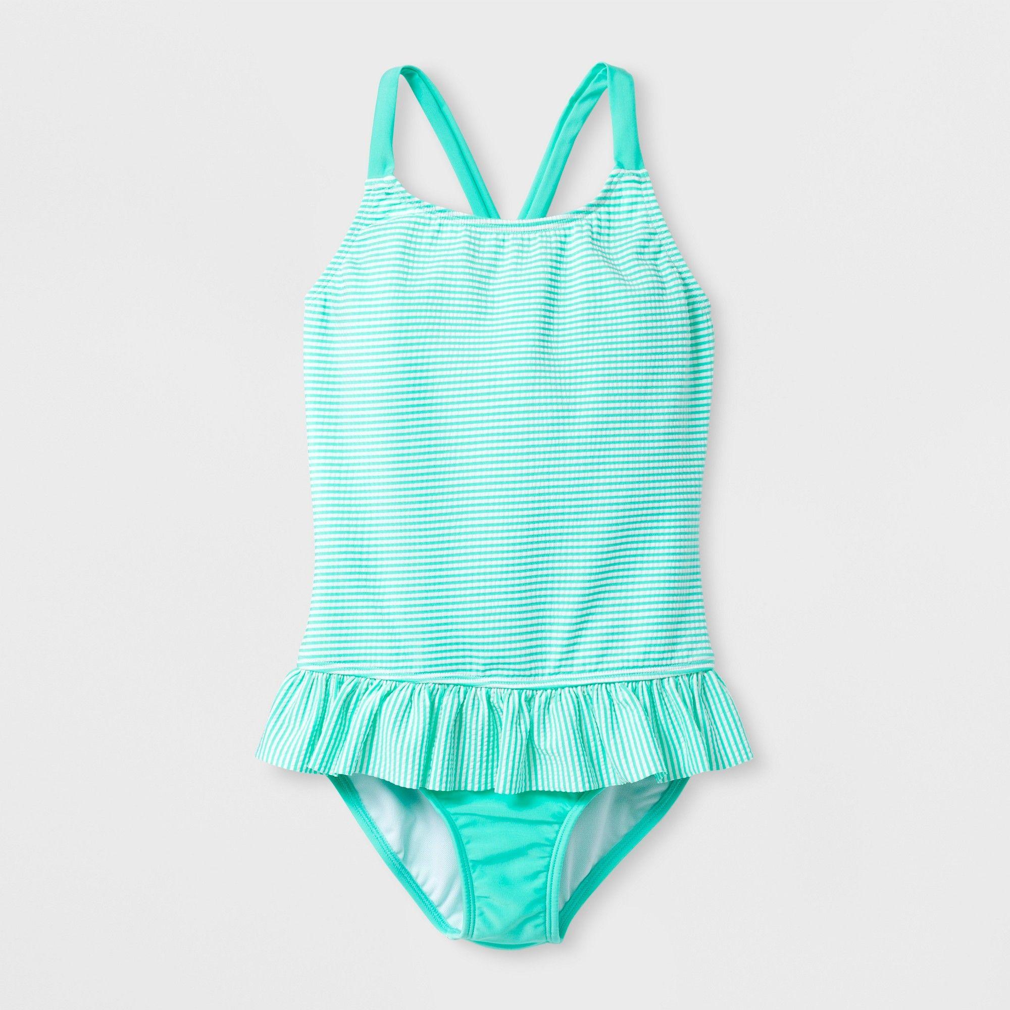 8444523311 Girls' Seersucker One Piece Swimsuit - Cat & Jack Mint M, Blue ...