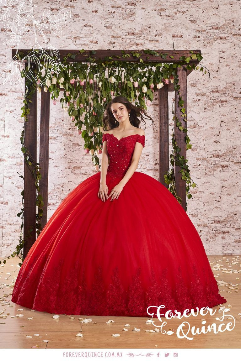 Off The Shoulder Quinceanera Dress By Forever Quince Style Fq763 In 2021 Red Quinceanera Dresses Quince Dresses Sweet 15 Dresses [ 1152 x 768 Pixel ]