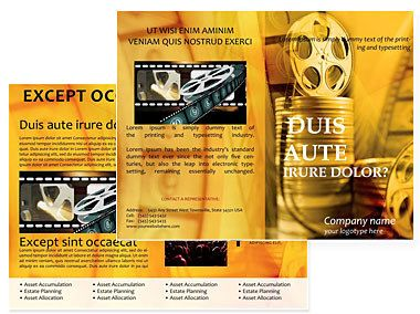 Movie Studio Brochures Templates  Brochure Template