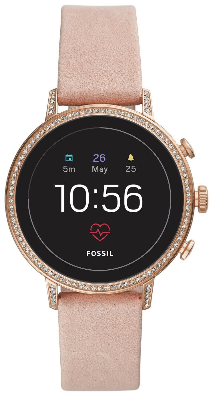 Buy Fossil Venture Gen 4 Hr Smart Watch Rose Gold Silicone Womens Watches In 2020 Smart Watch Leather Pink Leather