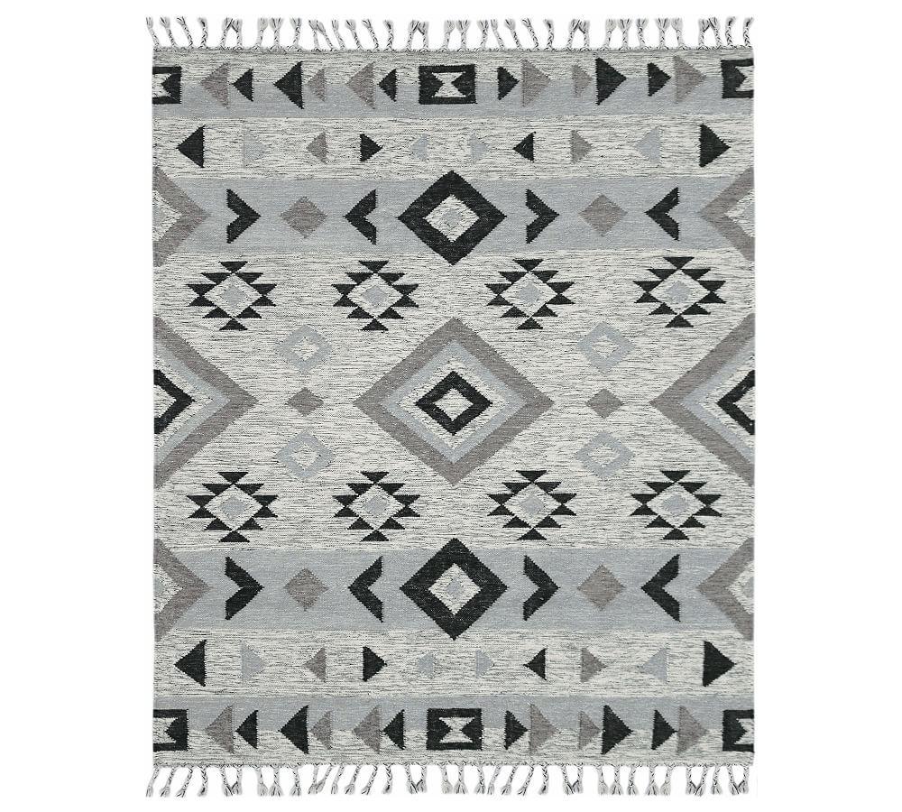 Asya Flatweave Rug 9 X 12 Gray Ivory Gray White Rugs Patterned Rugs Pottery Barn Flat Weave Wool Rug Amer Rugs Wool Area Rugs
