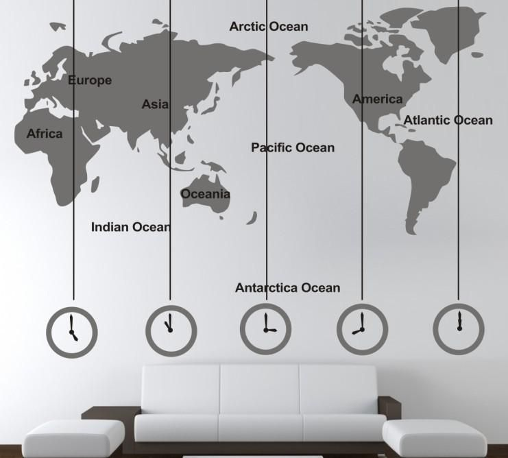 World Map And Time Zone Large Wall Sticker Decal Tv Sofa Background Home  Office Decor New