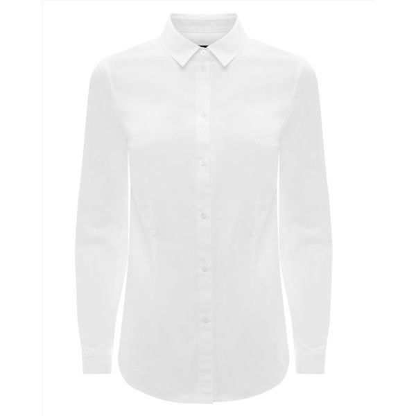 Jaeger Jaeger Classic Shirt ($125) ❤ liked on Polyvore featuring tops, cotton shirts, white collared shirt, collared shirt, white tops and tailored shirts