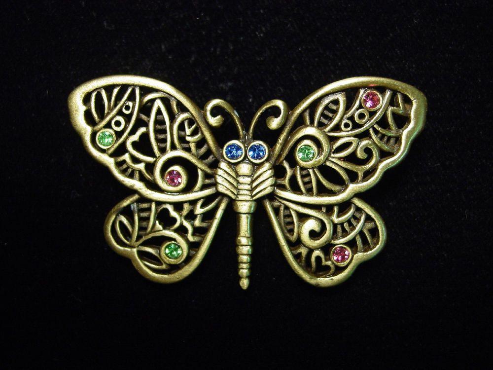 """""""JJ""""+Jonette+Jewelry+Bronze+Pewter+'MULTI-COLOR+Gem+Butterfly'+Pin+#JonetteJewelry+#Pin"""