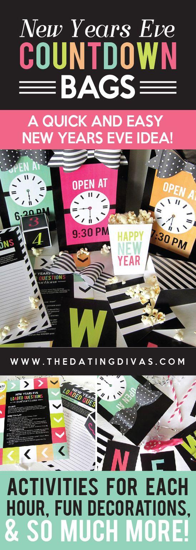 new years eve countdown bags sivester pinterest silvester partyspiele und neujahr. Black Bedroom Furniture Sets. Home Design Ideas