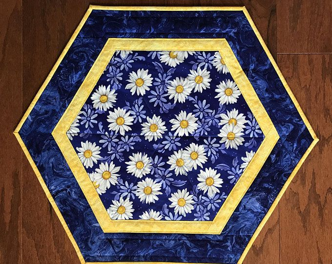 Dining Room Table Toppers Gorgeous Quilted Hexagon Table Topper Daisy On Blue Background Candle Mat Design Ideas