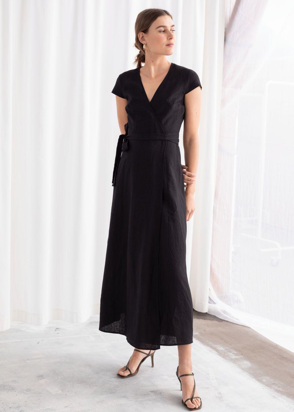 Linen Midi Wrap Dress Black Midi Dresses Other Stories Dresses Midi Wrap Dress Wrap Dress [ 1439 x 1025 Pixel ]