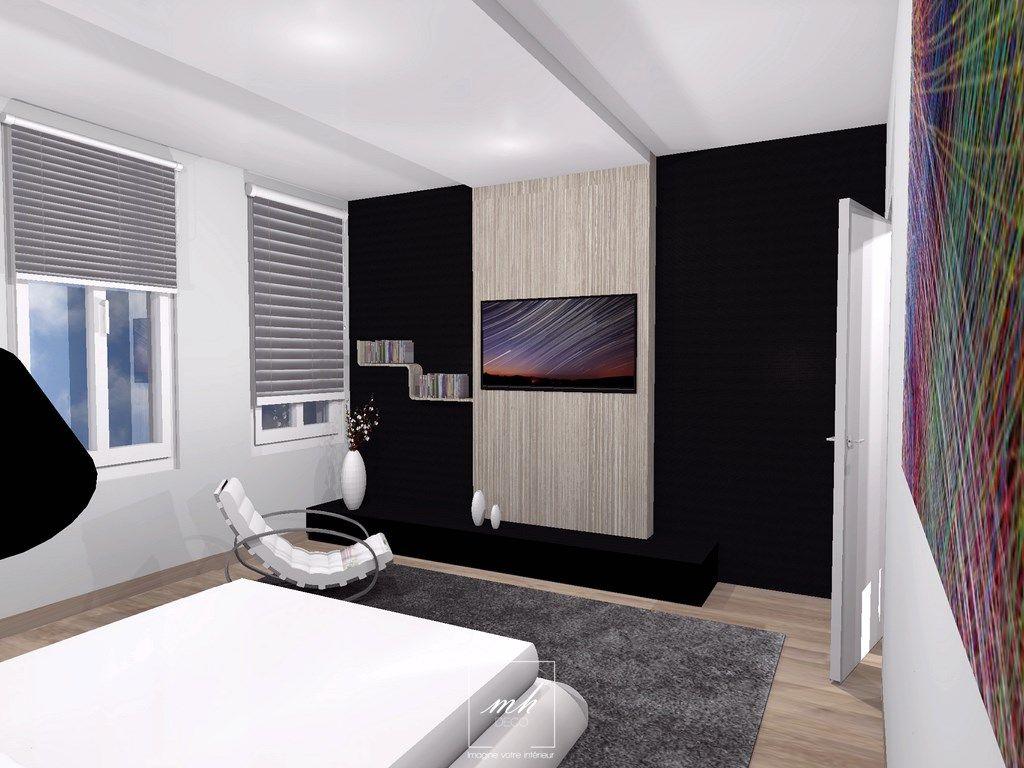Decoration D Une Suite Parentale Au 1er Etage De Cette Maison Dans Le Nord Pas De Calais Tv Wall Wall Design Design